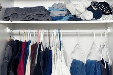 inside wardrobe with shelf