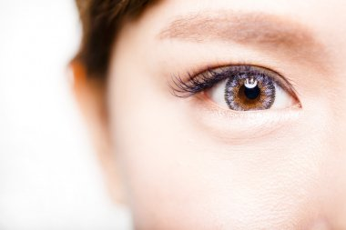 Closeup shot of young beautiful woman eyes