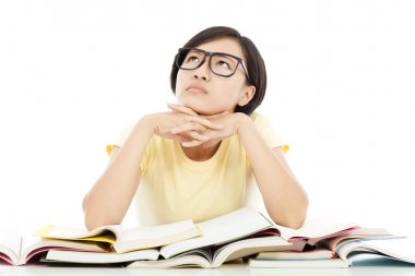 pretty young student girl thinking with book