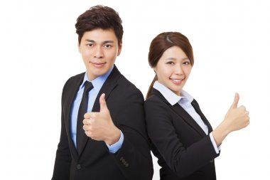 happy businessman and businesswoman with thumbs up