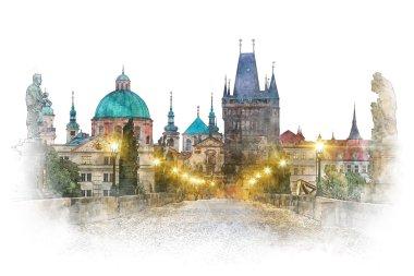Prague - famous landmark Charles Bridge, watercolor artwork