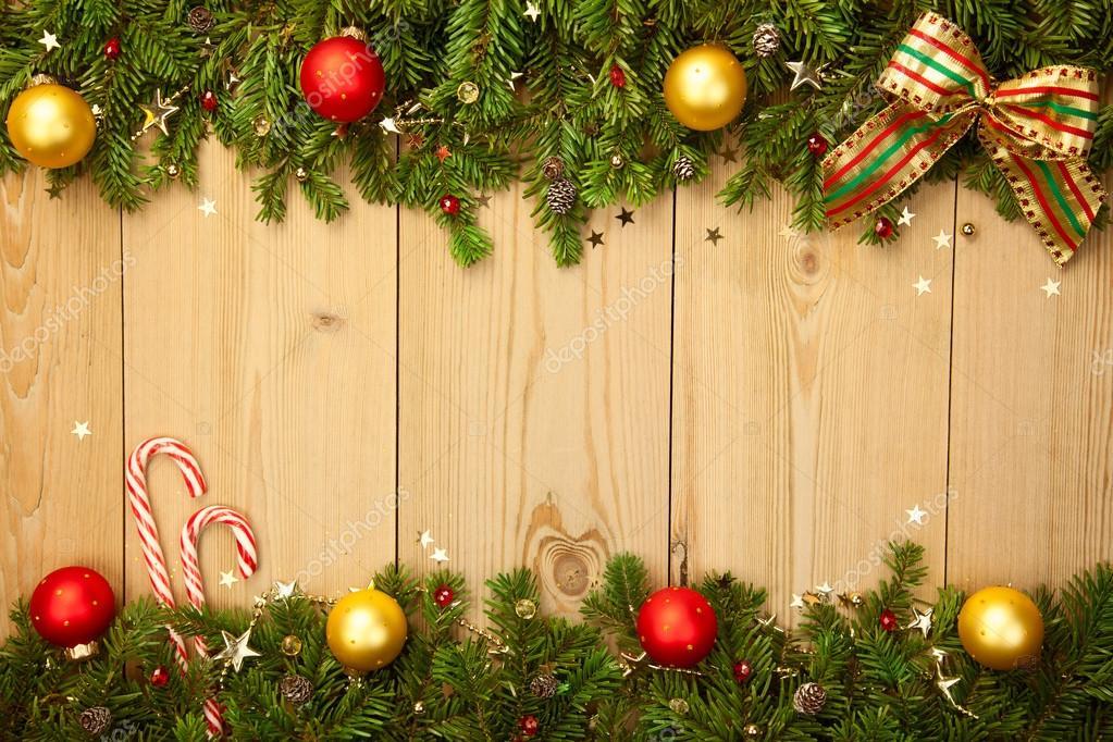 Fondo De Navidad Con Firtree Caramelos Y Chucherías Fotos De