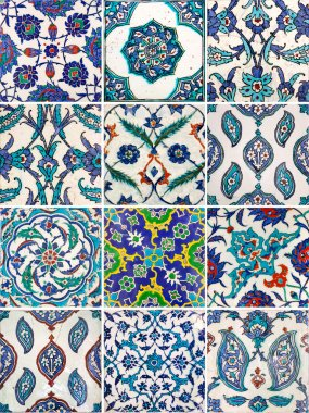 Set of ancient traditional handmade tiles - Islamic ornaments