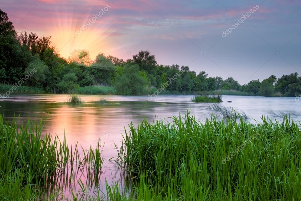Beautiful colorful morning near the river