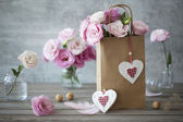 Alexej pozadí s květinami a srdce