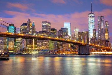 Manhattan skyscrapers and Brooklyn Bridge, New York, USA