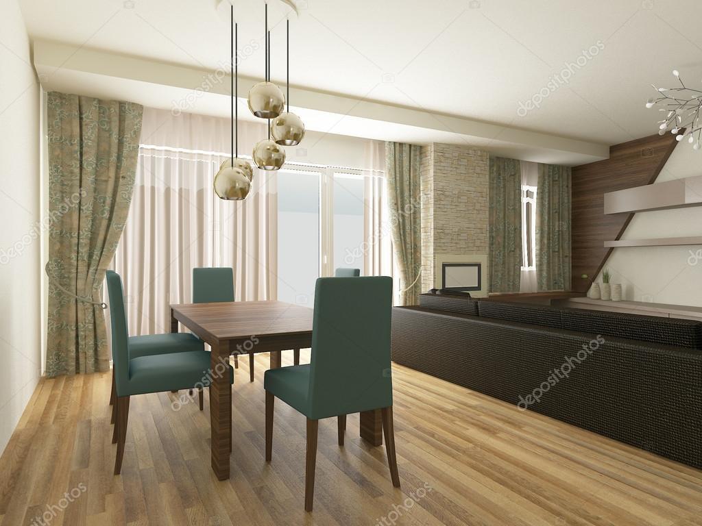 A 3d Render Of Modern Dining Room Interior Foto Von