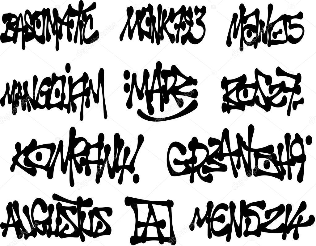 Liquid Black Graffiti Tags Collection Over White Stock Vector