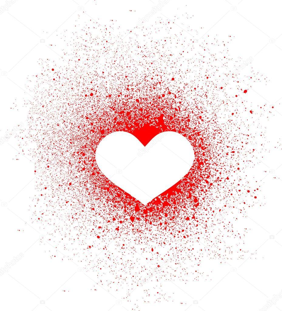 Graffiti Heart Spray Design Element In White On Red