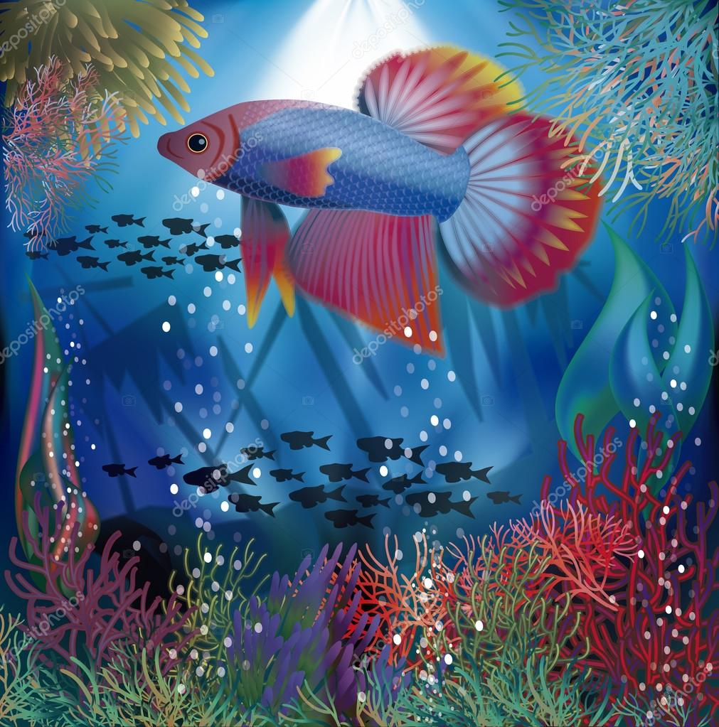 Underwater Wallpaper With Well Fish Vector Illustration Stock Vector C Carodi 113250564