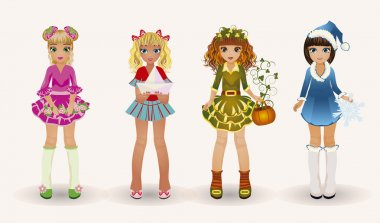 Little seasons girls, vector illustration
