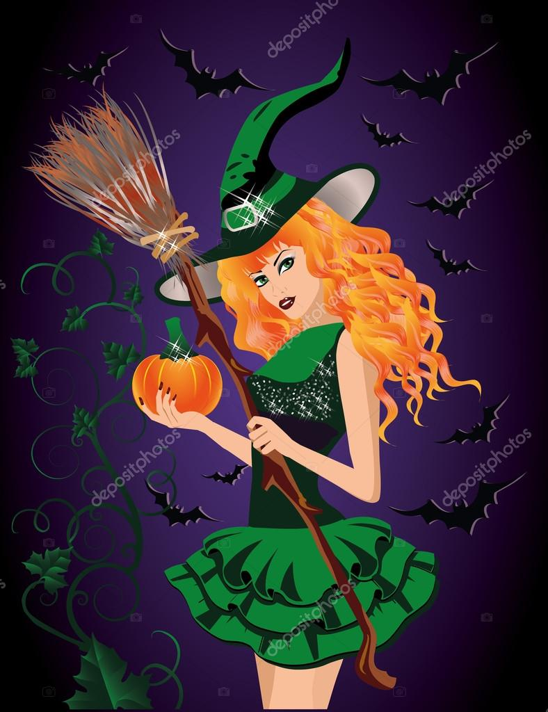 Sexy witch and pumpkin, halloween card. vector illustration