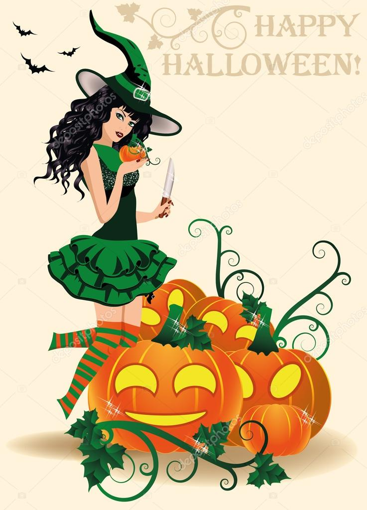 Happy Halloween card. Young witch and pumpkins, vector illustration