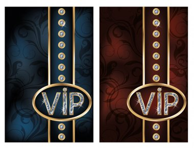 Two diamond VIP cards, vector illustration