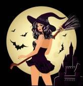 Fotografie Fröhliches Halloween. sexy Hexe und Mond, Vektor-illustration