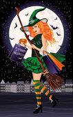Halloween-Verkauf. urbane Rothaar-Hexe mit Einkaufstaschen, Vektorillustration