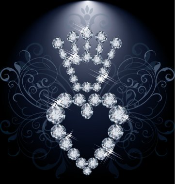 Brilliant diamond crown and heart, vector illustration