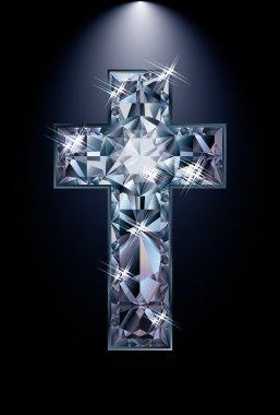 Christian Cross diamond religion, vector illustration