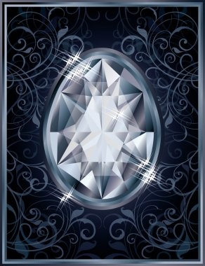 Diamond Easter egg invitation card, vector illustration