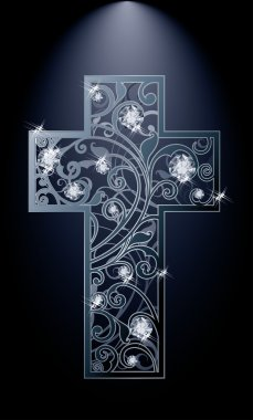 Easter cross with diamonds flowers, vector illustration