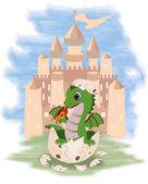 Fotografie Little fairy dragon and castle, vector illustration