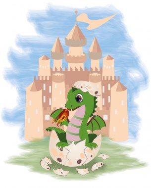 Little fairy dragon and castle, vector illustration