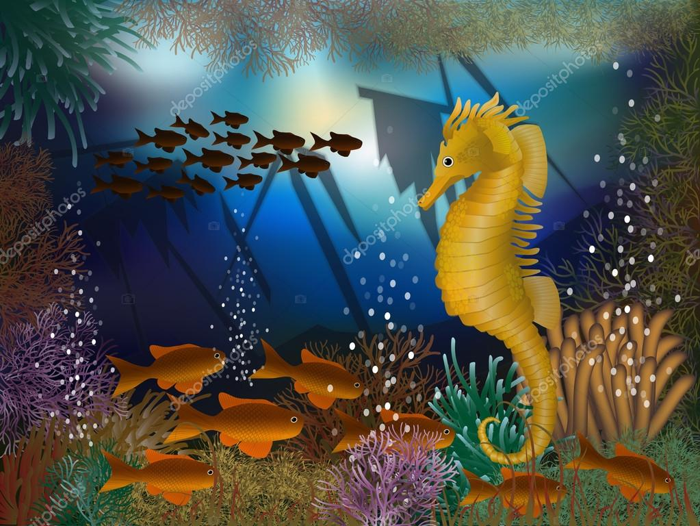 Underwater wallpaper with seahorse and shipwrecks, vector illustration