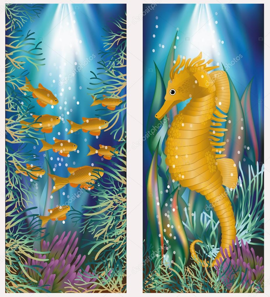 Underwater banner with seahorse and golden fish, vector illustration