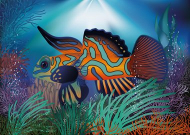 Underwater wallpaper with tropic fish, vector illustration