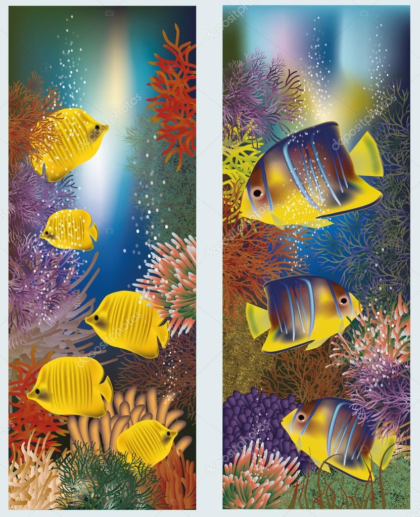 Underwater banners with yellow tropical fish, vector illustration