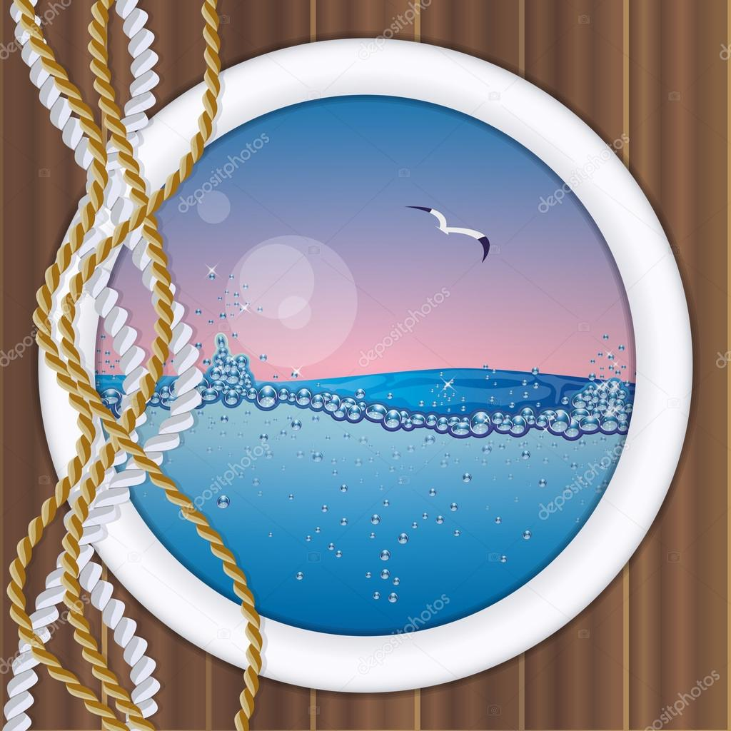 Ship porthole with underwater view, vector illustration