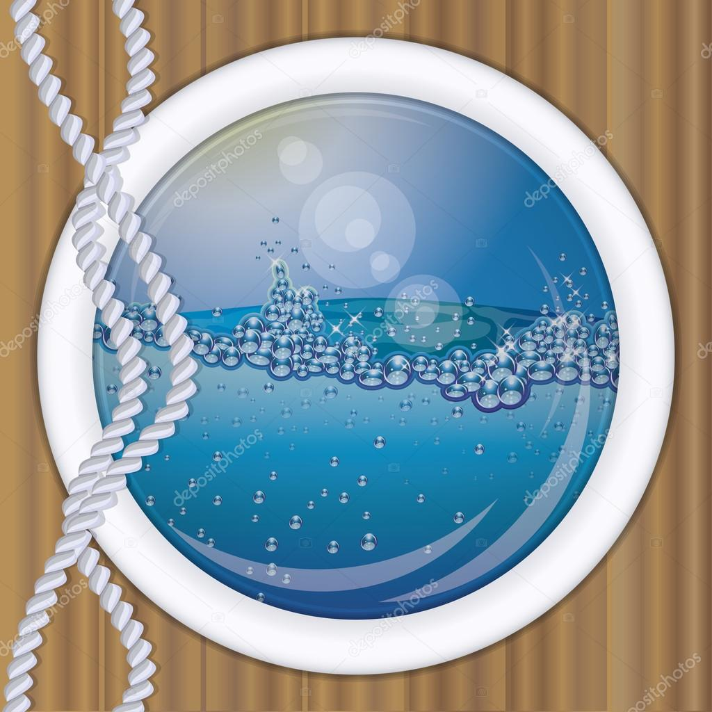 Ship porthole underwater  background,  vector illustration