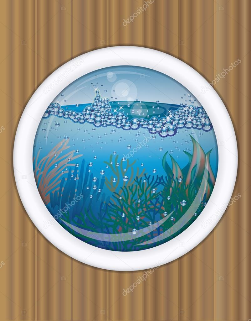 Ship porthole underwater cover design,  vector illustration