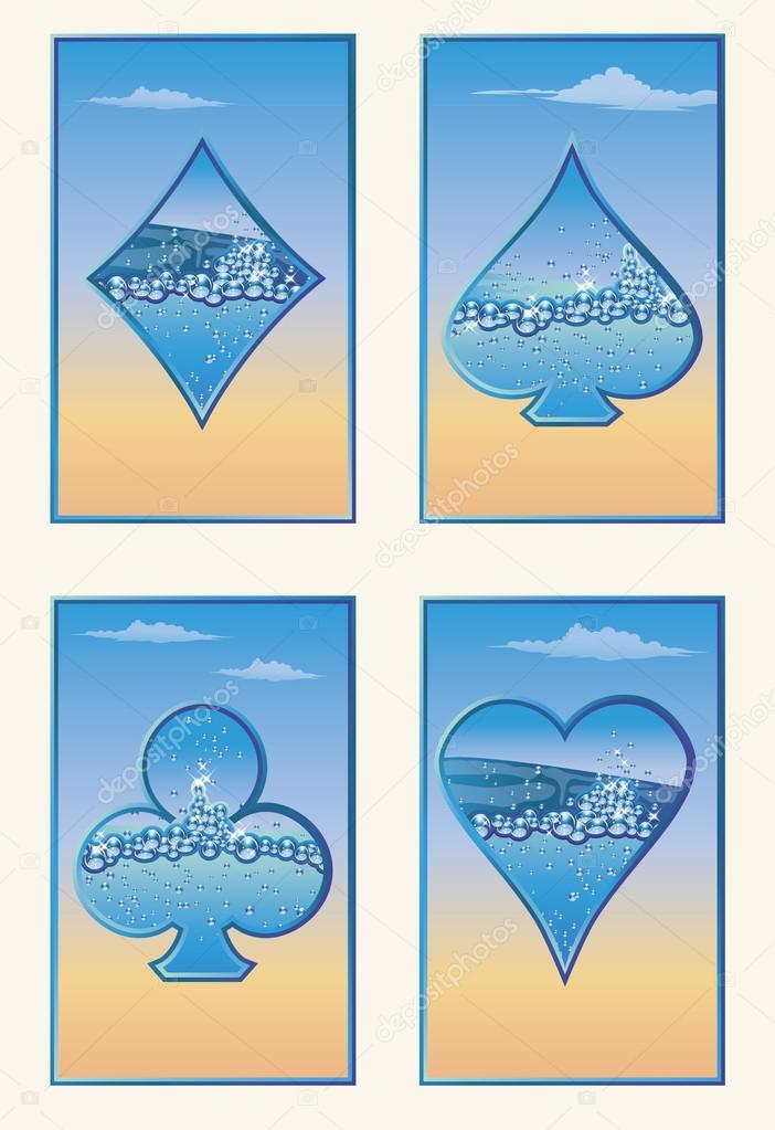 Set summer poker cards, vector illustration