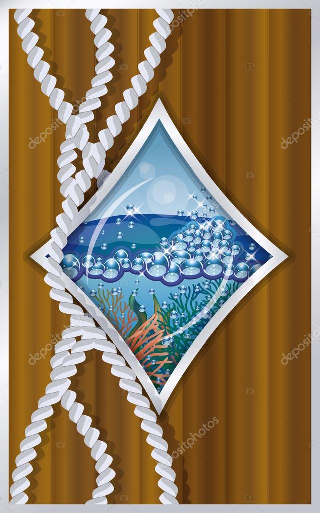 Diamonds poker card ship porthole, vector illustration