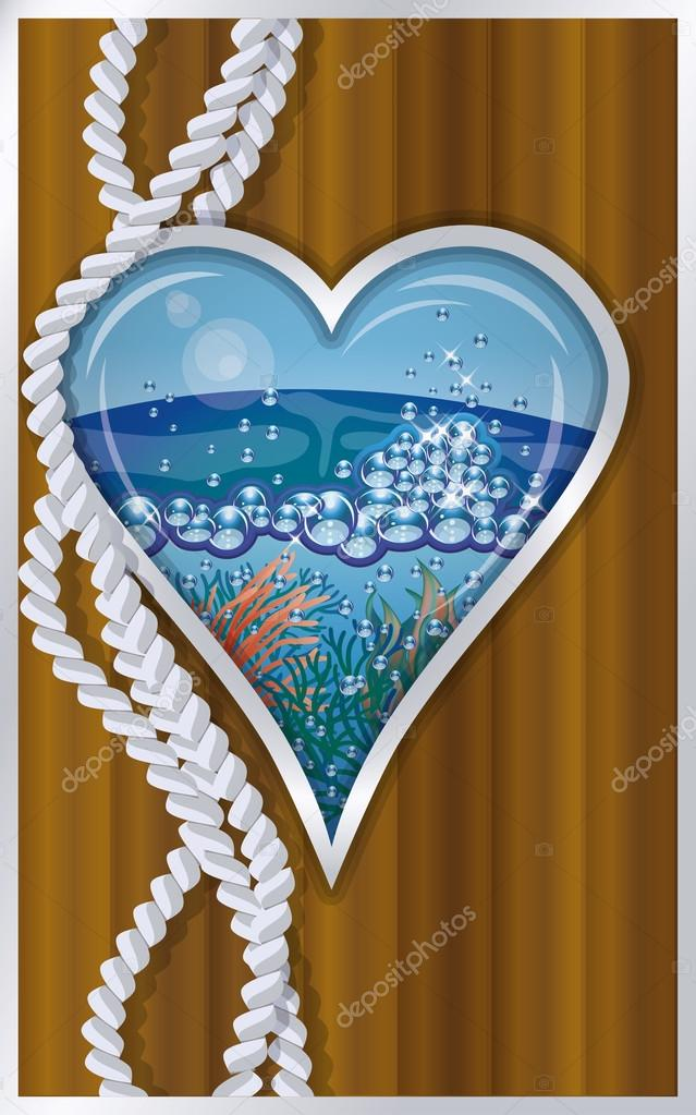 Hearts poker card ship porthole vector illustration