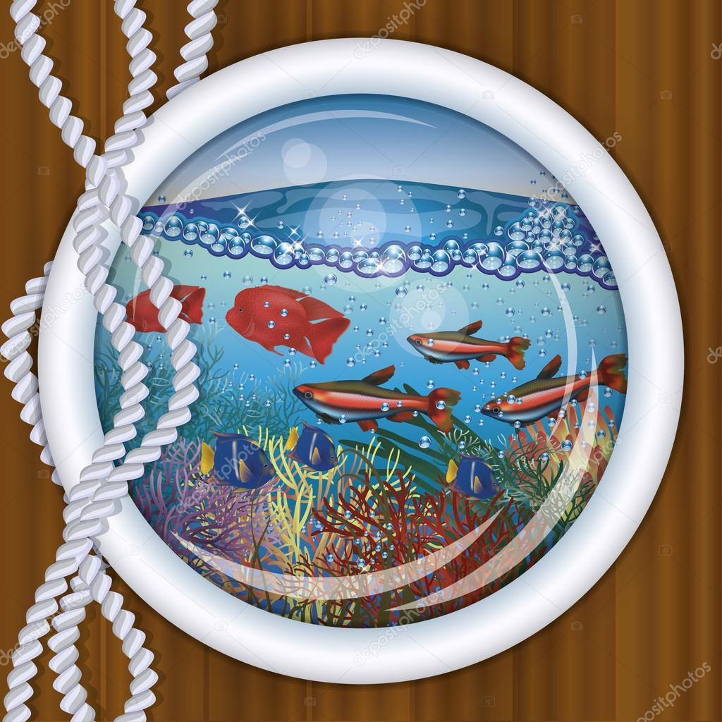 Ship porthole tropical underwater background,  vector illustration