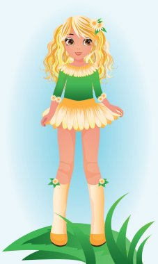 Camomile young girl, vector illustration