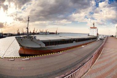 Bulk carrier moored harbor