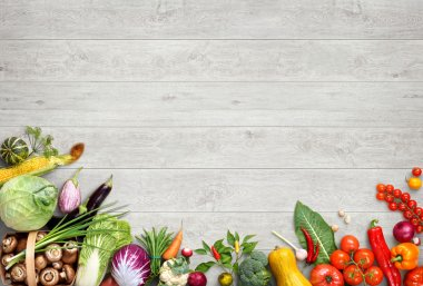 Organic food background. Studio photo of different fruits and vegetables