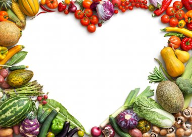 Heart shaped food. Food photography of heart made from different fruits and vegetables.