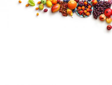 Healthy fruits background. Studio photo of different fruits