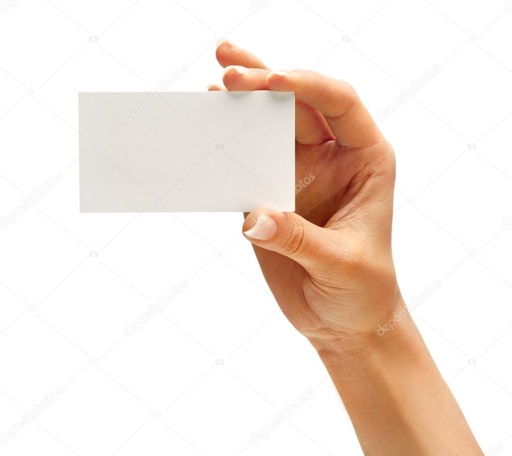 Woman\'s hand holding business card — Stock Photo © RomarioIen ...