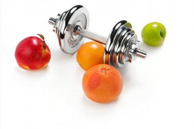 Red and green apple, orange citrus, grapefruit and dumbbell