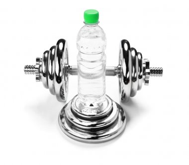 Dumbbell and a bottle of water, fitness concept