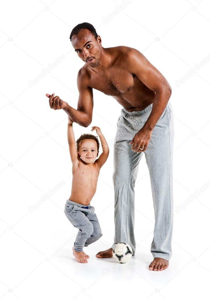 Healthy father and son playing together, happy fun smiling lifestyle