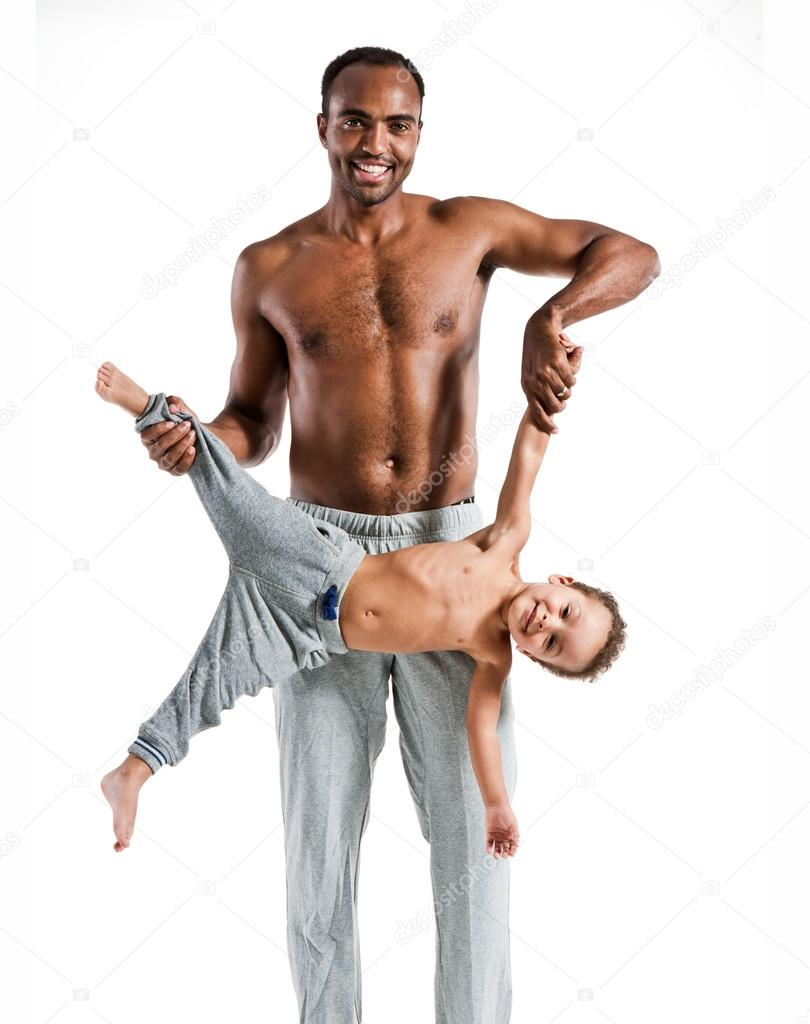 Young father having fun with his child, family and fathers day concept