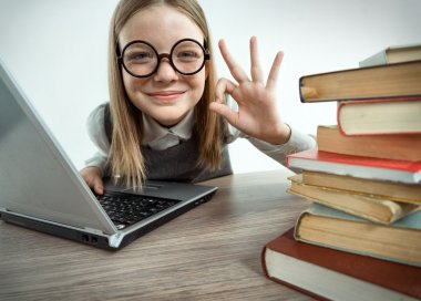 Happy smiling young girl showing okay gesture while using her laptop computer