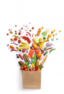 Healthy eating background of different fruits and vegetables