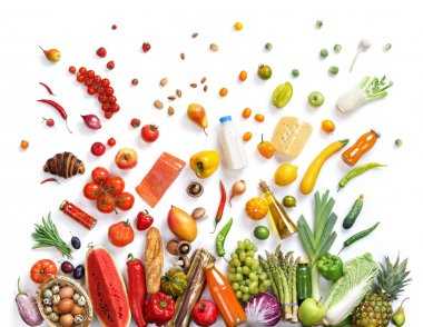 Healthy food background, top view
